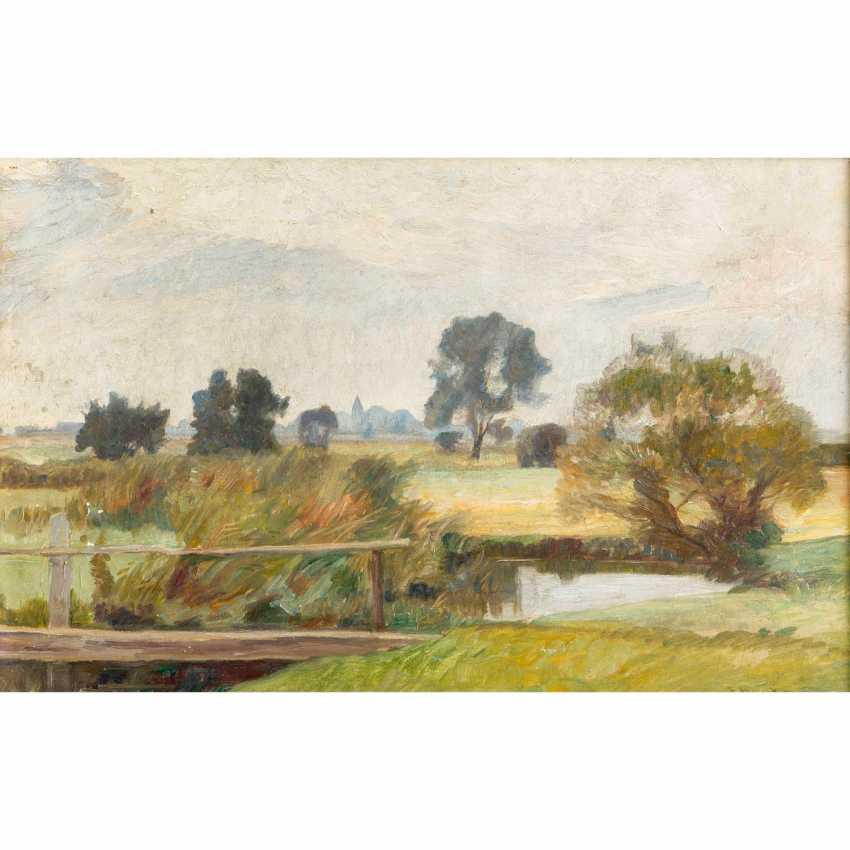 """BUNKE, FRANZ (Schwaan 1857-1939 Oberweimar), """"Wide moor landscape with pond"""", - photo 1"""