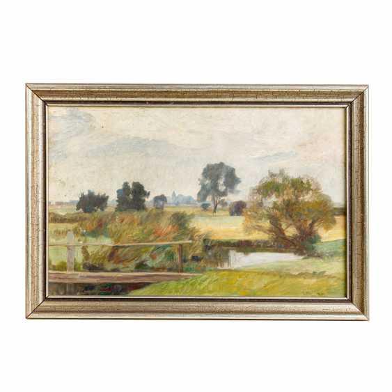 """BUNKE, FRANZ (Schwaan 1857-1939 Oberweimar), """"Wide moor landscape with pond"""", - photo 2"""