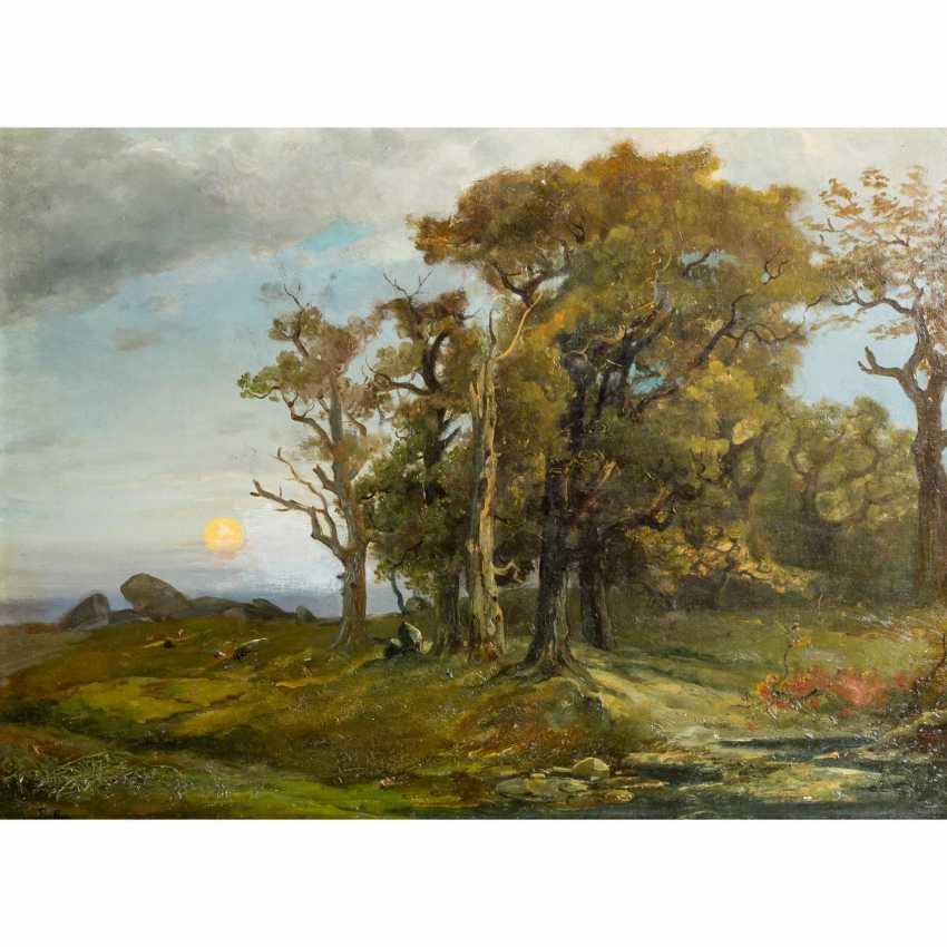 """PRELLER (artist 19th / 20th century), """"Rising sun over a plateau with a forest"""", - photo 1"""