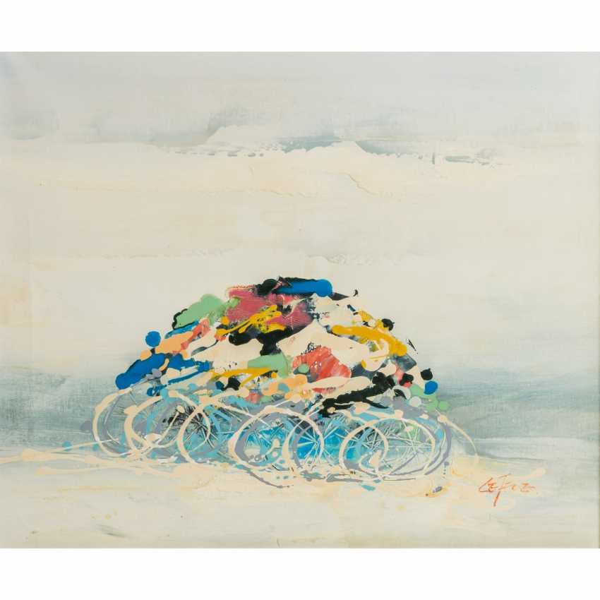 "LEFEVRE? (indistinctly signed, artist 20th century), ""Radrennen"", - photo 1"