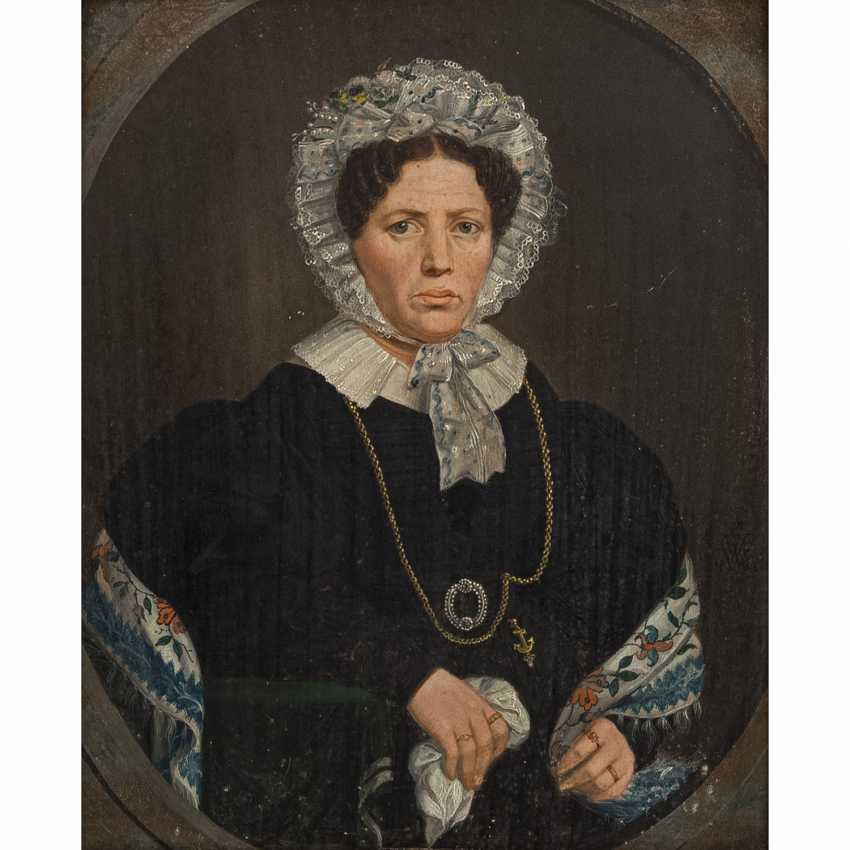 """MONOGRAMMIST / IN CWW or GWW (19th century), """"Portrait of a lady with a white lace cap and collar"""", - photo 1"""