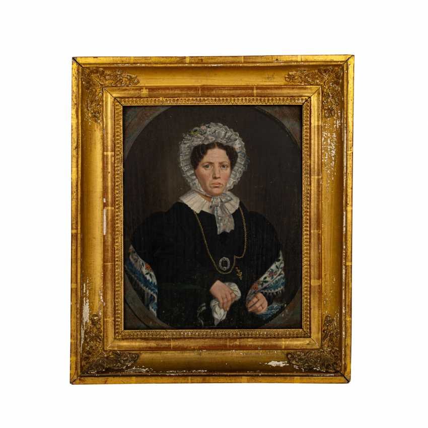 """MONOGRAMMIST / IN CWW or GWW (19th century), """"Portrait of a lady with a white lace cap and collar"""", - photo 2"""
