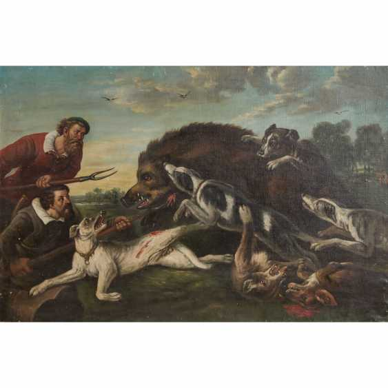 """HUNTING PAINTER 19th century, """"Hunting a boar"""", - photo 1"""