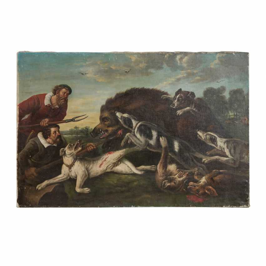 """HUNTING PAINTER 19th century, """"Hunting a boar"""", - photo 2"""