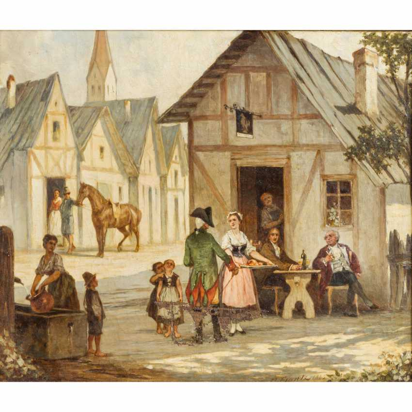 "FRANTZ, F. (painter of the 19th century), ""In front of the tavern"", - photo 1"