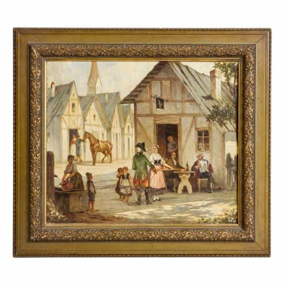 "FRANTZ, F. (painter of the 19th century), ""In front of the tavern"", - photo 2"