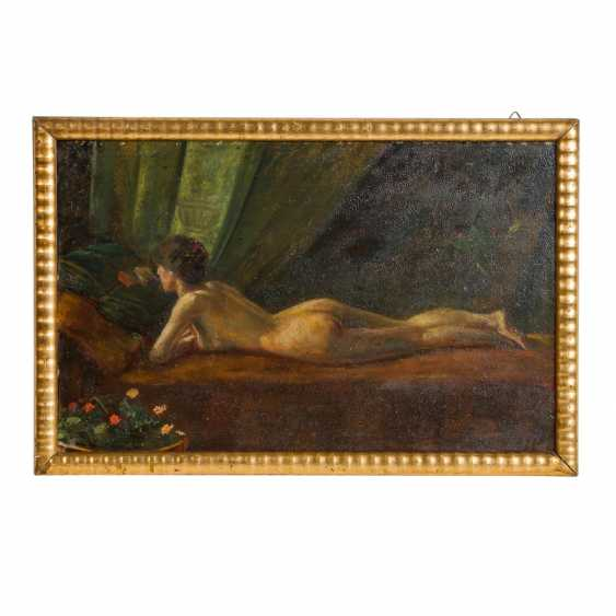 "IMPRESSIONIST 19th / 20th Century, ""Reclining female nude, reading a book"", - photo 2"