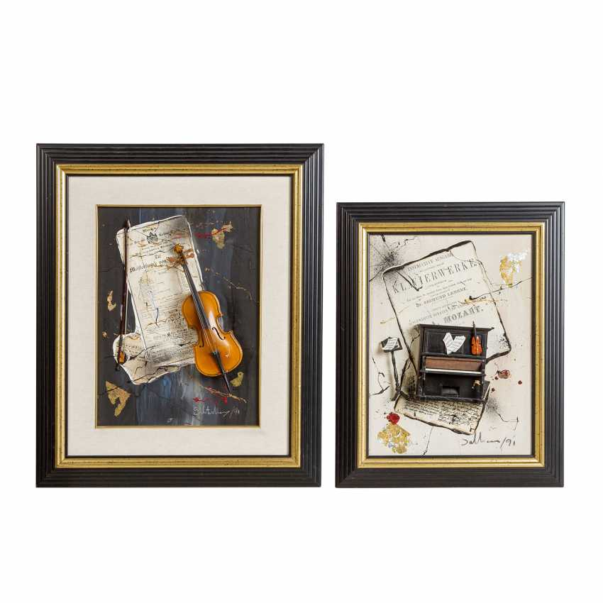 """ARTIST 20th century, 2 3-D collages """"Music"""", - photo 1"""