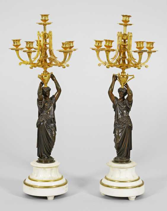 Pair of large Empire figurine candlesticks - photo 1