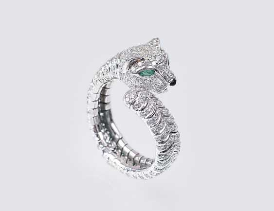 Ring clip with diamonds 'Panther' - photo 1