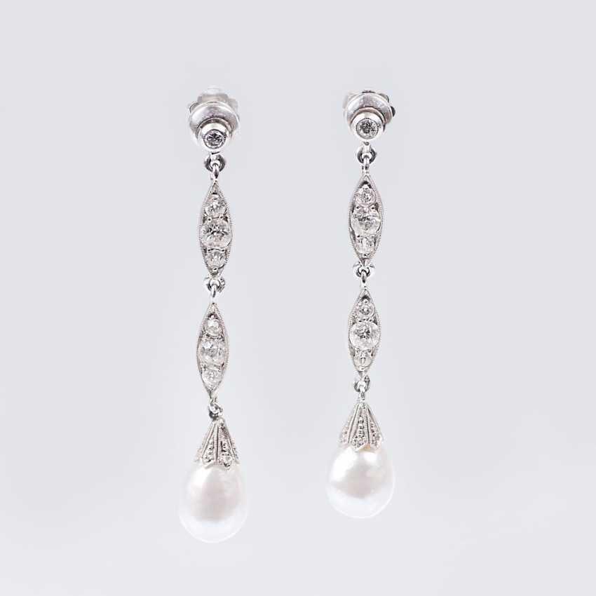 Pair of Art Nouveau diamond-pearl earrings - photo 1