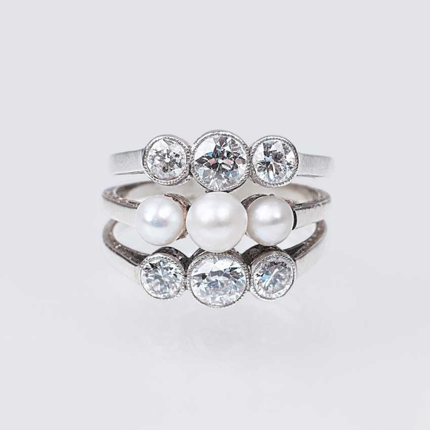 Art Nouveau diamond and pearl ring - photo 1