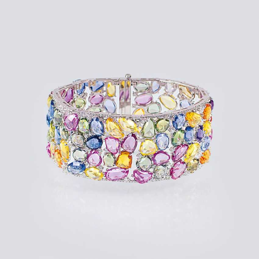 Exceptional gemstone bracelet with colored sapphires and diamonds - photo 1