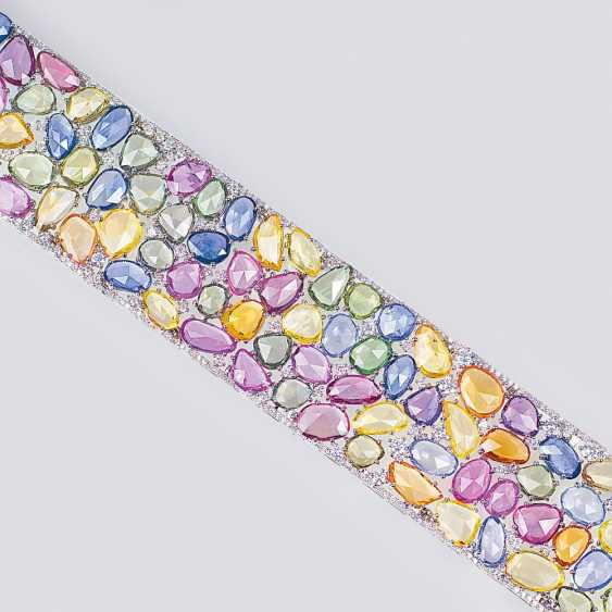Exceptional gemstone bracelet with colored sapphires and diamonds - photo 2