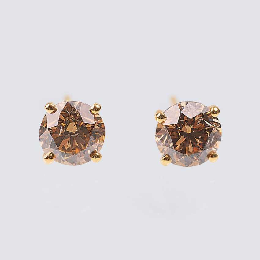 Pair of Fancy Diamond Solitaire Stud Earrings - photo 1