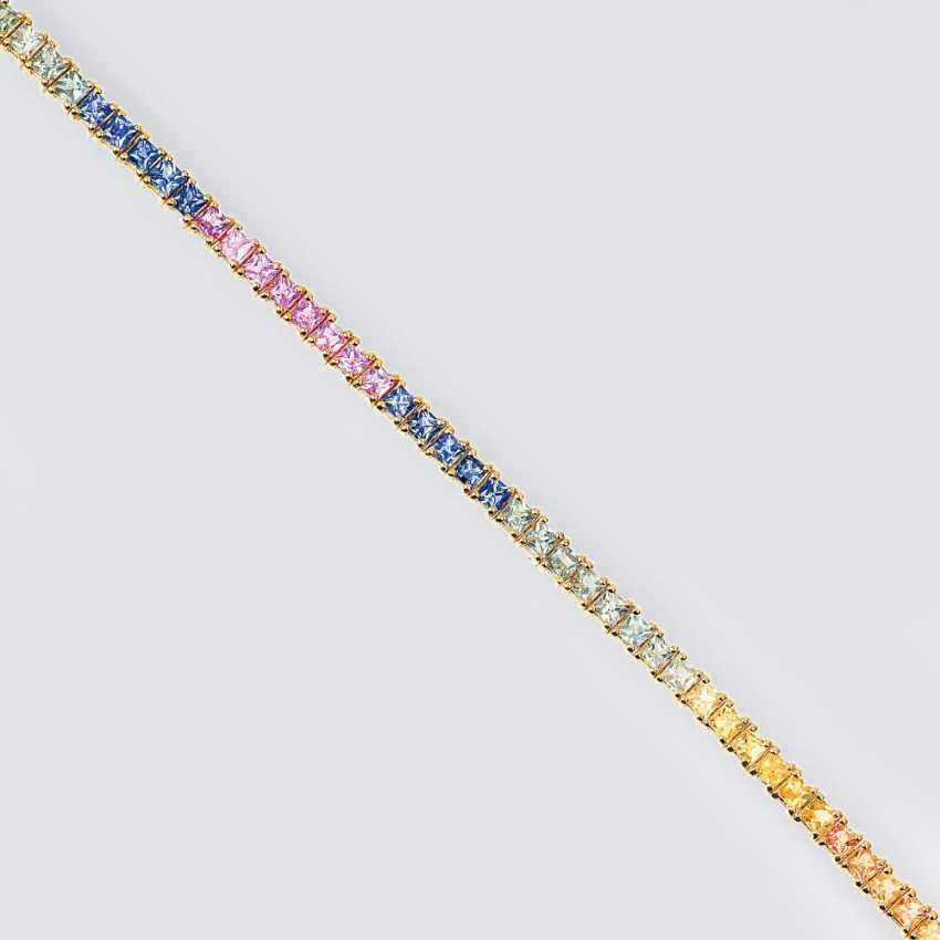 Tennis bracelet with multicolored sapphires - photo 1