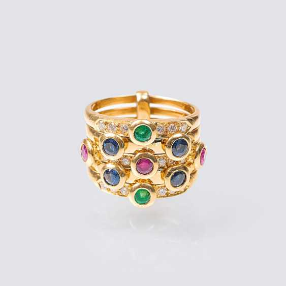 Farbedelstein-Brillant-Ring - photo 1