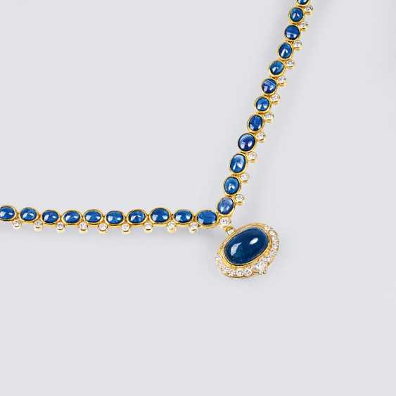 Collier with sapphire cabochons and diamonds - photo 1