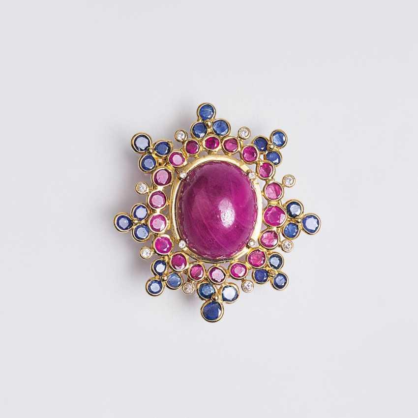 Vintage ruby sapphire brooch - photo 1