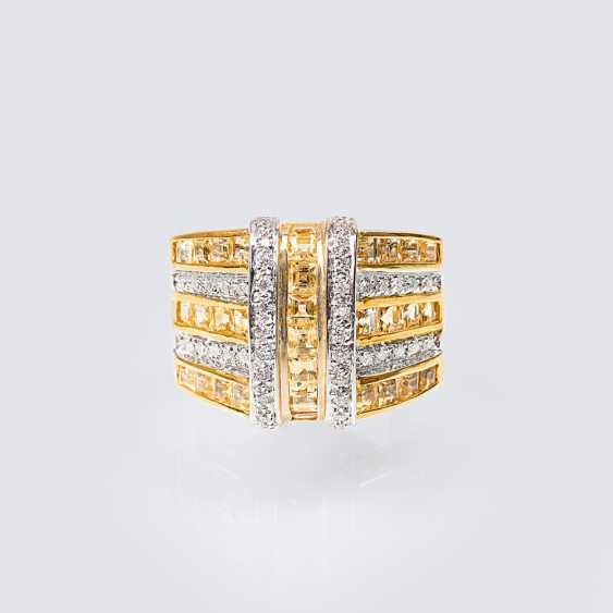 Ring with yellow sapphires and diamonds - photo 1