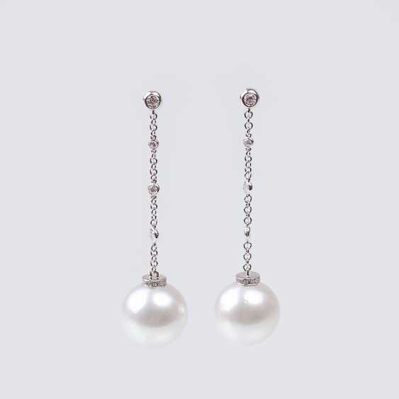 Pair of South Sea pearl and diamond earrings - photo 1
