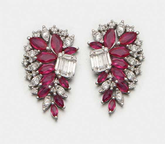Pair of glamorous 1940s style ruby earrings - photo 1