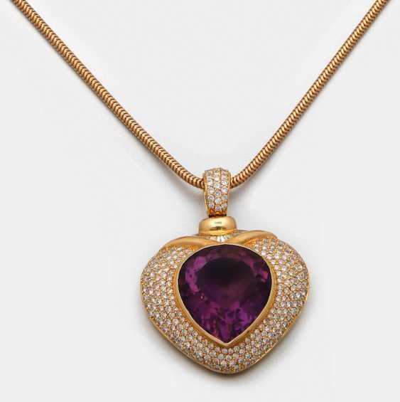 Representative amethyst pendant with diamonds - photo 1