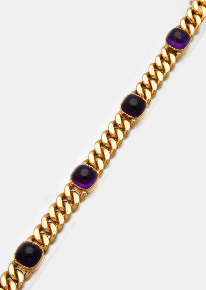 Classic curb bracelet with amethysts - photo 1