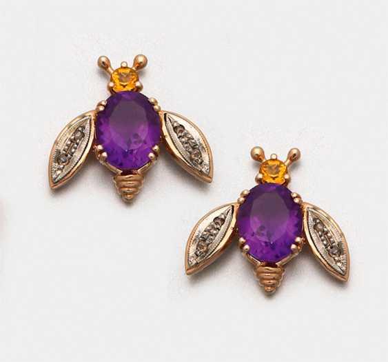 Pair of decorative amethyst earrings - photo 1