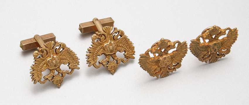 Pair of cufflinks and clips with Russian double-headed eagles - photo 1
