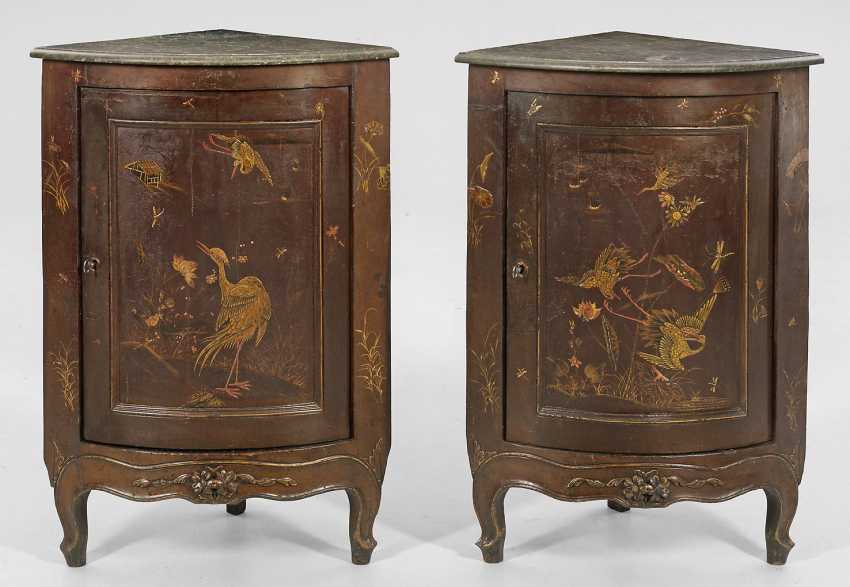 Pair of corner cabinets with Chinoiserie decor - photo 1