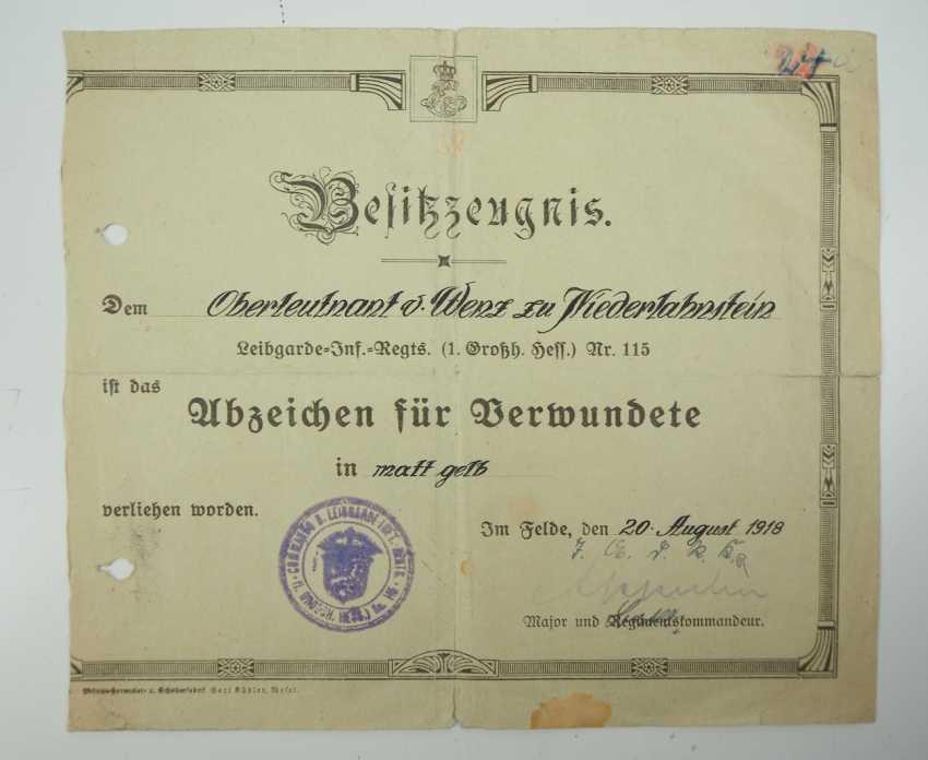 Abzeichen für Verwundete, 1914, der Armee, in Mattgelb. - los 1033