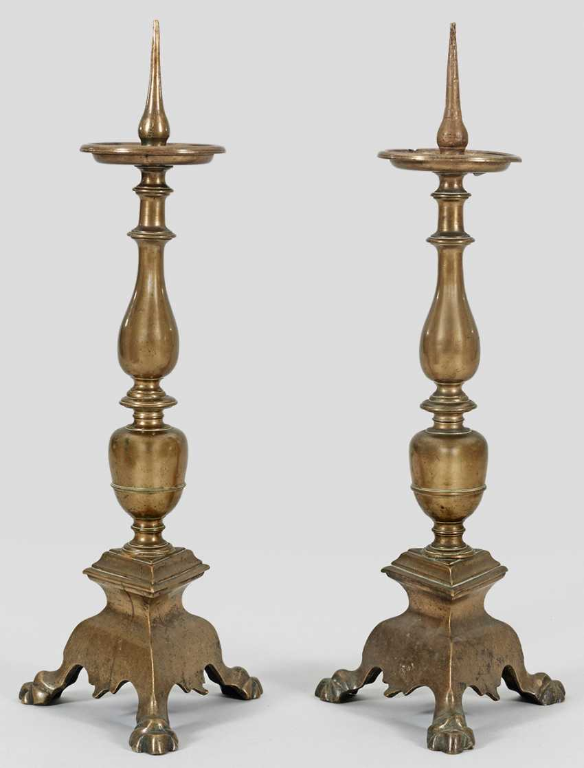 Pair of large Baroque altar candlesticks - photo 1