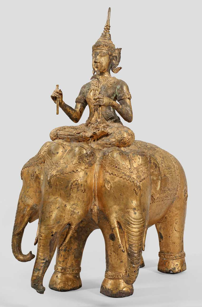 "Large Buddha figure ""Indra"" on a three-headed elephant - photo 1"