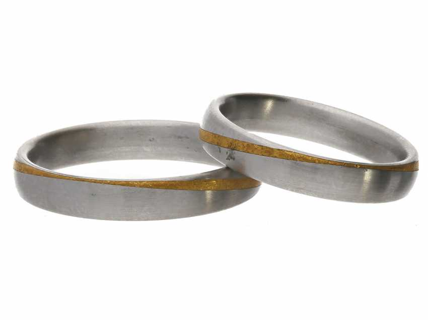 Ring: great wedding rings made of platinum with fine gold appliqués, NP 1.200€ - photo 1