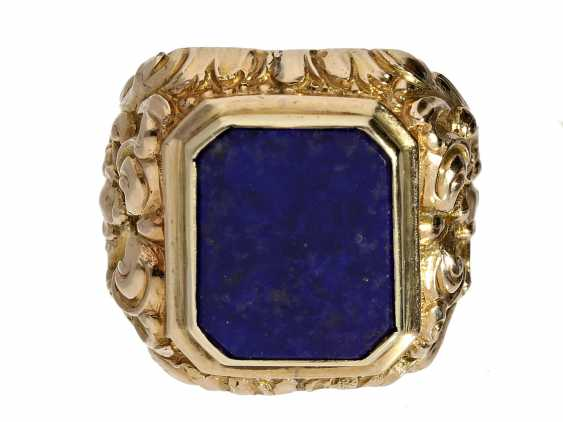 Ring: exceptional, formerly expensive vintage men's ring with lapis lazuli, NP 1380€ - photo 1