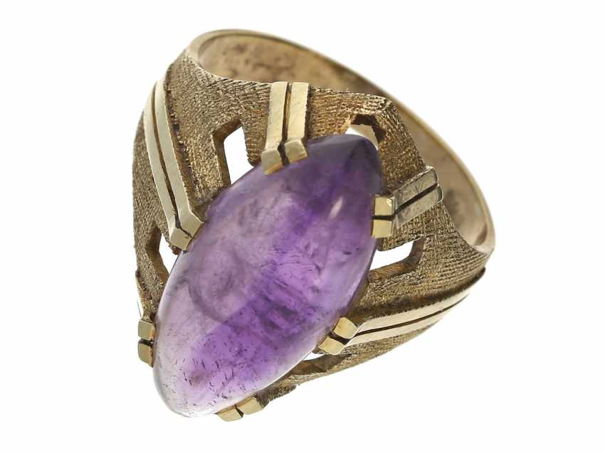 Ring: decorative vintage gold wrought ring with Amethyst, 50s - photo 1