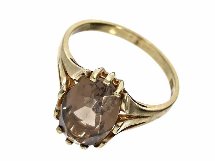 Ring: unworn vintage ladies ' ring with smoky quartz - photo 1