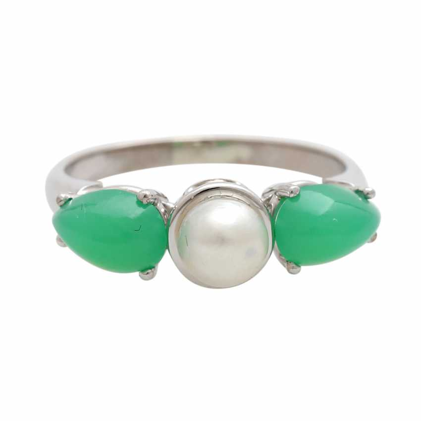 Ladies ring with 1 cultured pearl and - photo 1
