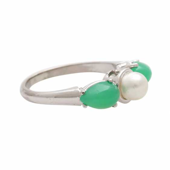 Ladies ring with 1 cultured pearl and - photo 2