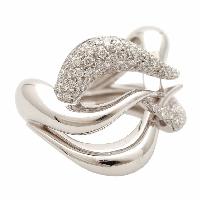 BUCHERER Ring with brilliant-cut diamonds, approximately 1.5 ct, W - LGW / VS - SI, - photo 2