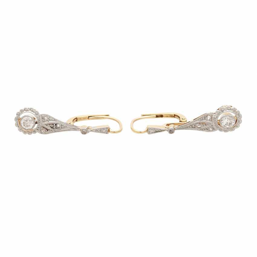 Earrings (Pair), Art Deco, m. the 1 old European cut diamond - photo 1