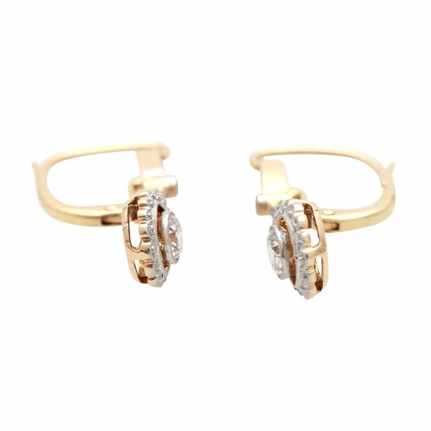 Earrings (Pair), Art Deco, m. the 1 old European cut diamond - photo 2