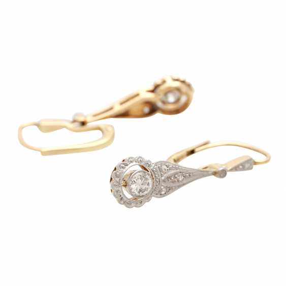 Earrings (Pair), Art Deco, m. the 1 old European cut diamond - photo 3