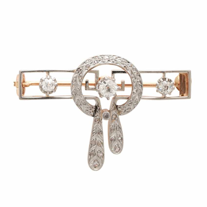 Brooch, Art Deco, with 3 old European cut diamonds, together CA. 0,25 ct - photo 1