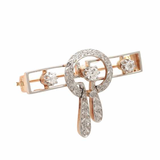 Brooch, Art Deco, with 3 old European cut diamonds, together CA. 0,25 ct - photo 2