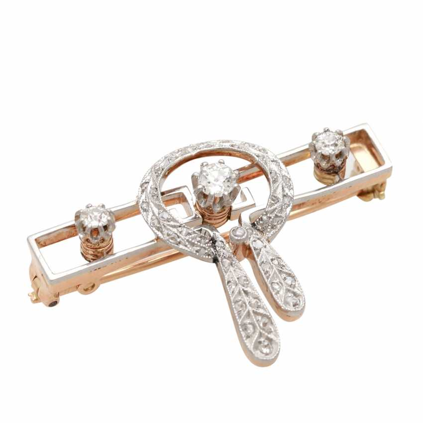 Brooch, Art Deco, with 3 old European cut diamonds, together CA. 0,25 ct - photo 3