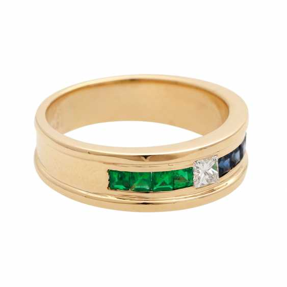 Ladies ring with emeralds, sapphires, and 1 diamond - photo 2