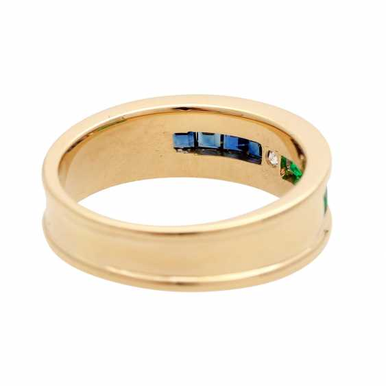 Ladies ring with emeralds, sapphires, and 1 diamond - photo 3