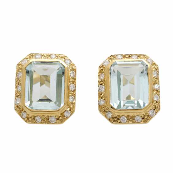 Stud earrings with aquamarine - photo 1